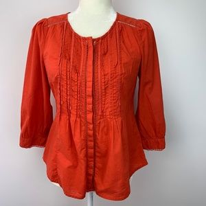 Anthropologie Meadow Rue Fluted Top Blouse Orange